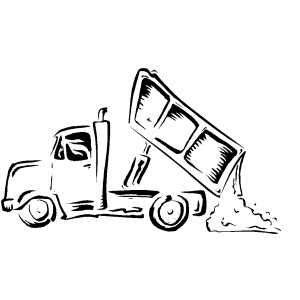 Dump Truck Unloading coloring page