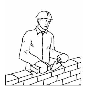 Man Laying Brick coloring page
