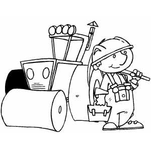 Smiling Worker With Instruments coloring page