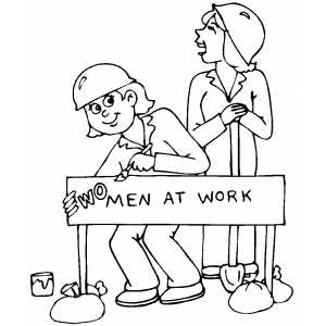 Woman At Work coloring page