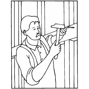 Worker Hammering Nail coloring page
