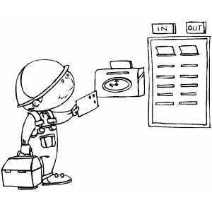 Worker Punching Time Clock coloring page