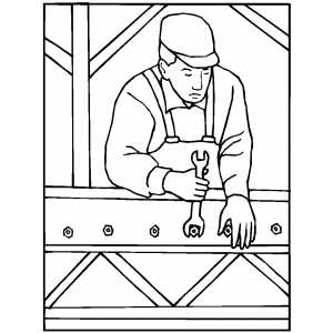 Worker Using A Wrench coloring page