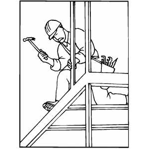 Worker Using Hammer coloring page
