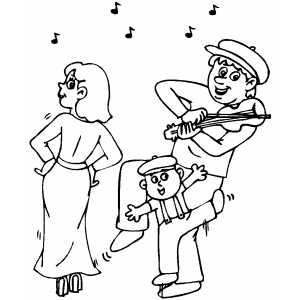 Dancing Under Violin coloring page
