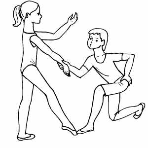 Kids Learning Ballet Moves coloring page