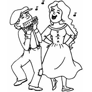 National Dancing With Instruments Playing coloring page