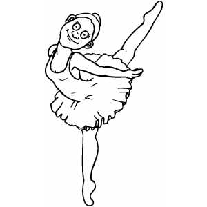 Woman Ballet On One Leg coloring page