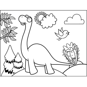 Curious Brontosaurus coloring page