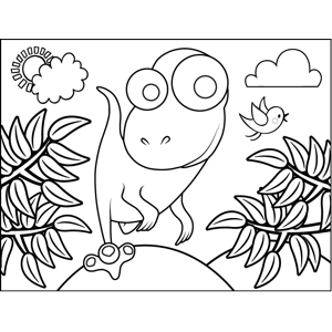 Curious Dinosaur coloring page