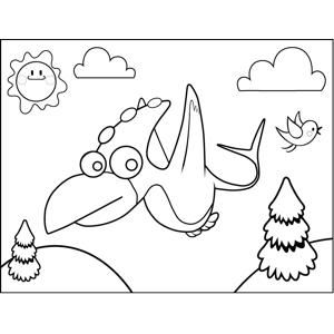 Cute Pterodactyl coloring page