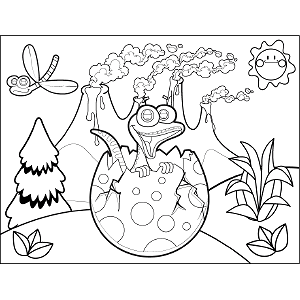 Dinosaur Egg Hatching coloring page