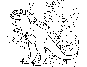 Dinosaur with Trees Coloring Page