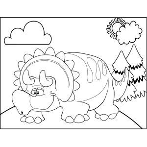 Drowsy Triceratops coloring page