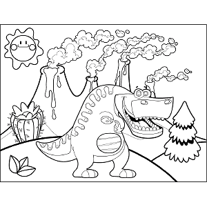 Grinning T Rex coloring page