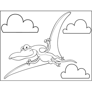Happy Pterodactyl coloring page