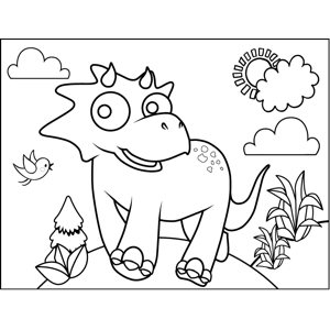 Running Triceratops coloring page