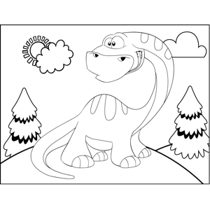 Worried Dinosaur coloring page