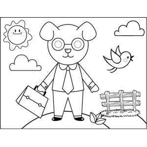 Accountant Dog coloring page