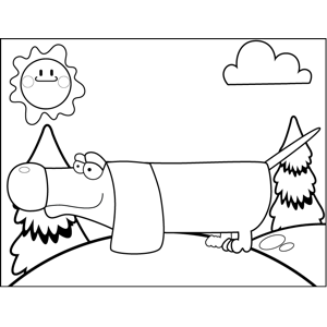 Big-Nosed Wiener Dog coloring page