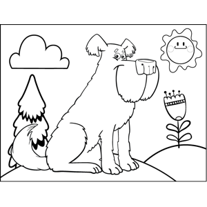 Big Fluffy Dog coloring page