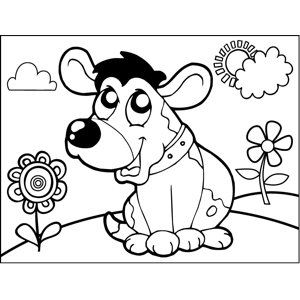 Cheerful Barking Dog coloring page