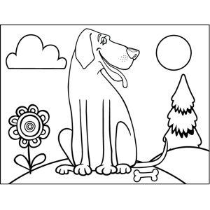 Coy Dog coloring page