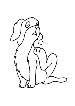 Cute Dog Scratching coloring page