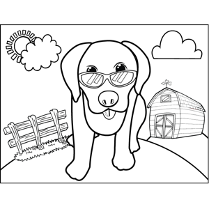Cute Dog with Sunglasses coloring page