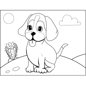 Cute Panting Puppy coloring page