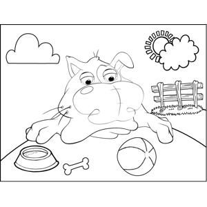 Disgruntled Dog with Ball coloring page