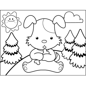 Dog Cradling Bone coloring page