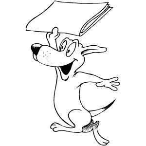 Dog Fetching Paper coloring page