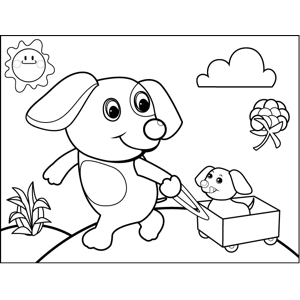 Dog Pulling Puppy in Wagon coloring page