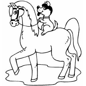 Dog Riding Horse coloring page