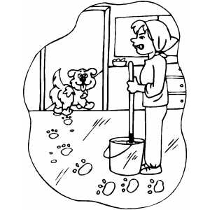 Dog Tracking Mud coloring page