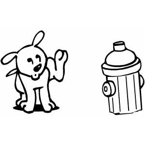 Dog With Hydrant coloring page