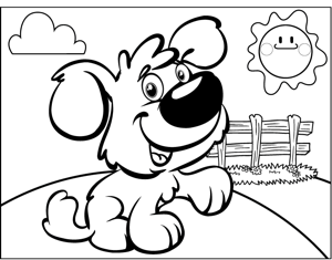 Dog by Fence coloring page
