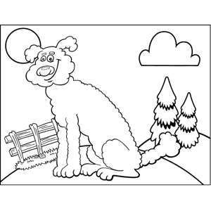 Dog in Field coloring page