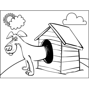 Dog in Kennel coloring page