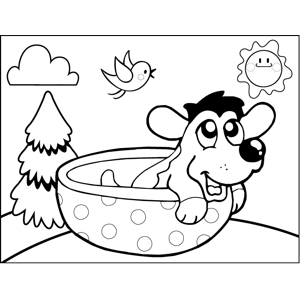 Dog in Spotted Bowl coloring page
