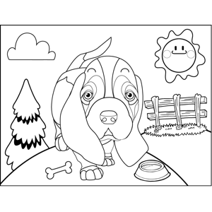 Dog with Bone and Dish coloring page