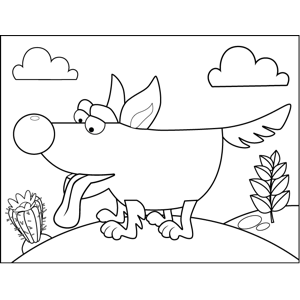 Dog with Lolling Tongue coloring page