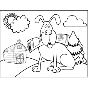 Dog with Newspaper coloring page