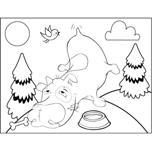 Droswy Dog Wagging Tail coloring page