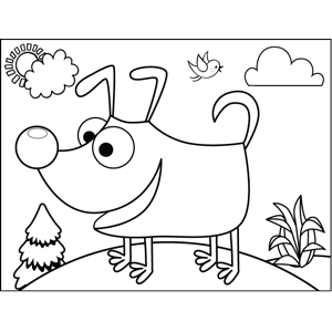 Excitable Dog coloring page