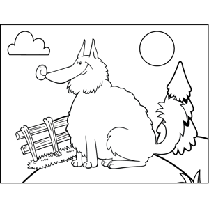 Fatt Fluffy Dog coloring page
