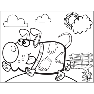Frolicking Dog coloring page