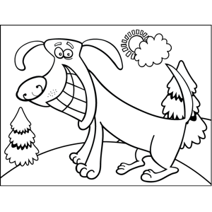 Grinning Dog coloring page