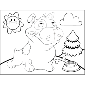 Grumpy Spotted Dog coloring page